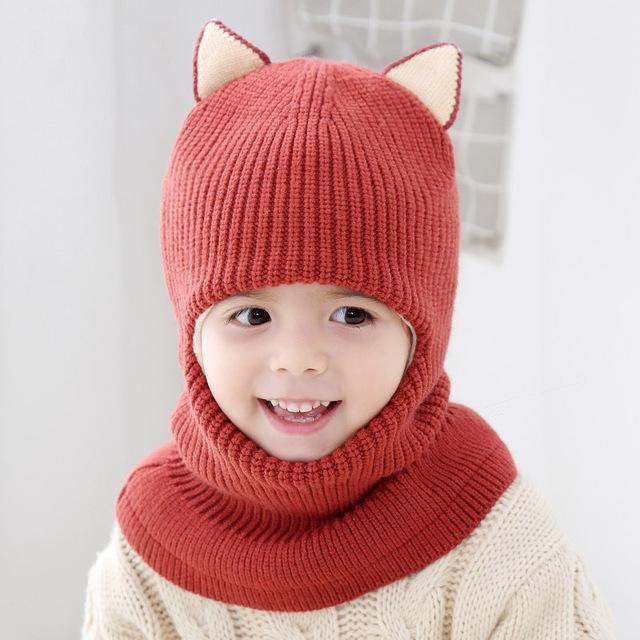 Tapas de los niños del ganchillo del oído sombrero de la bufanda de una pieza muchachas del invierno sombreros de los niños las gorras sombrero del bebé de 2 a 5 años