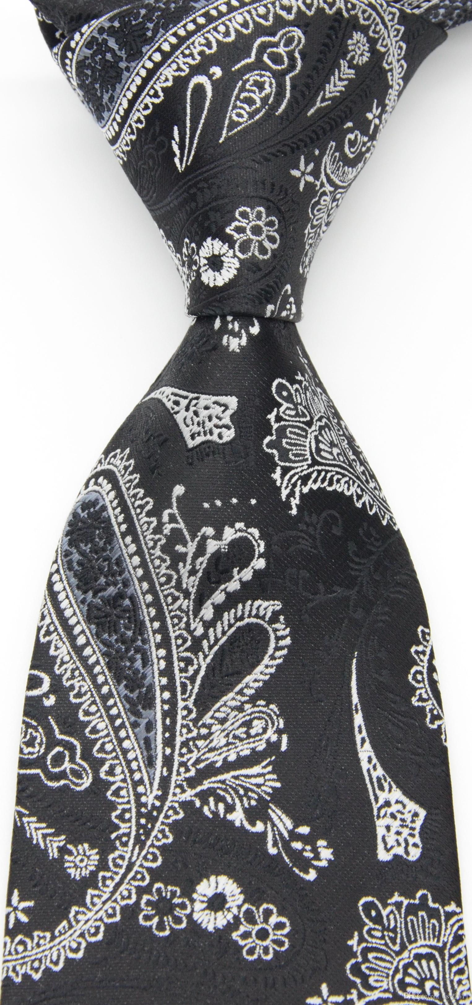 New Classic Paisley Black Red Gray White JACQUARD WOVEN Silk Men/'s Tie Necktie