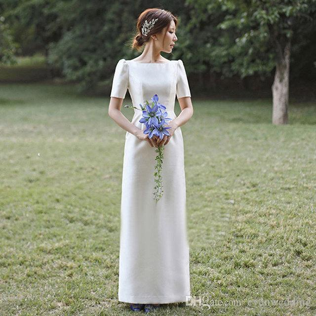 짧은 소매와 빈티지 새틴 웨딩 드레스 2020 아이보리 층 길이 웨딩 드레스 간단한 신부 드레스