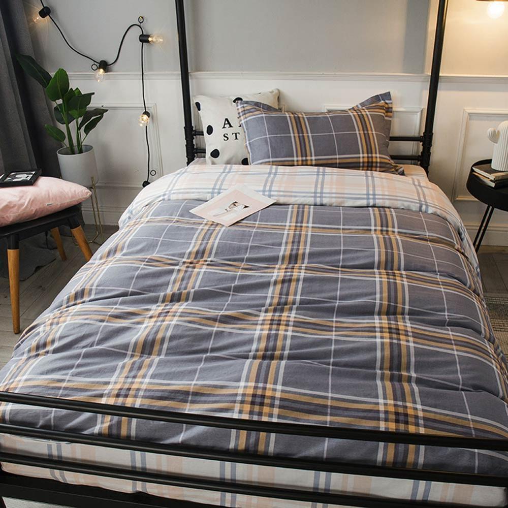 2019 INS Kurz Grau Plaids Stripes Schlaf 3pcs Bettwäsche-Set Twin hypoallergen Baumwolle Bedlinens Bettbezug-Set Einzelbett