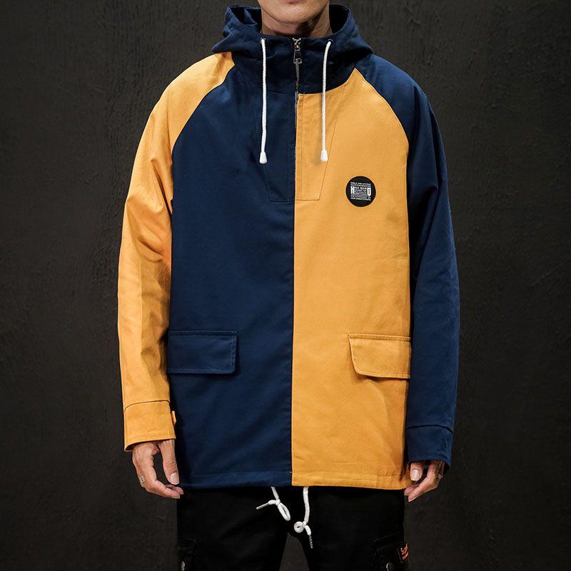Amarelo Azul Patchwork Moda Outono Zipper Oversize Homens Moda Solto Casual Streetwear Pano Sólido Harajuku Casaco Com Capuz Macio