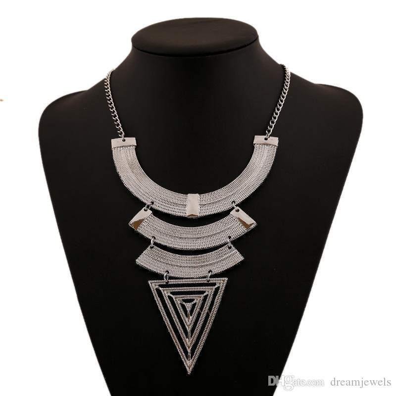 Геометрический треугольник ожерелье Преувеличены Clavie цепи ожерелье Vintage длинный свитер ожерелье для женщин девочек