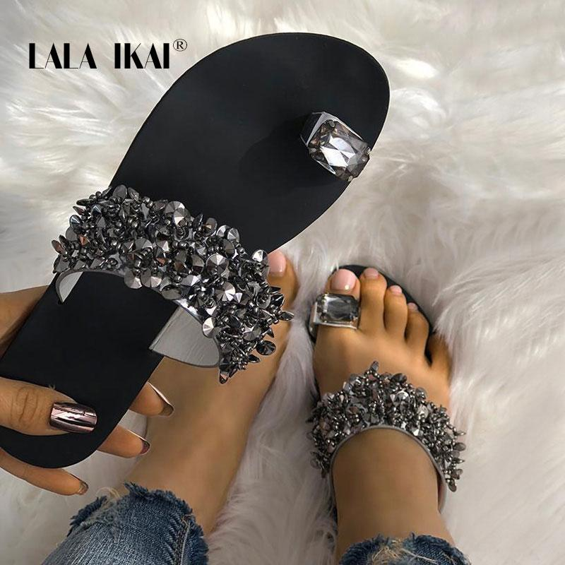 LALA IKAI Rhinestone Zapatillas Mujer Verano Cristal al aire libre Playa Señoras Diapositivas Moda Zapatos Planos 014A3725-4