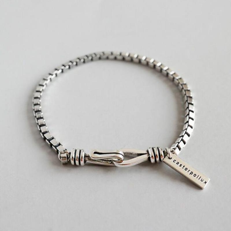 Estilo Europeu Simples Moda Thick Caixa geométrica Pulseira de Prata jóias charme para as Mulheres adequado para qualquer ocasião