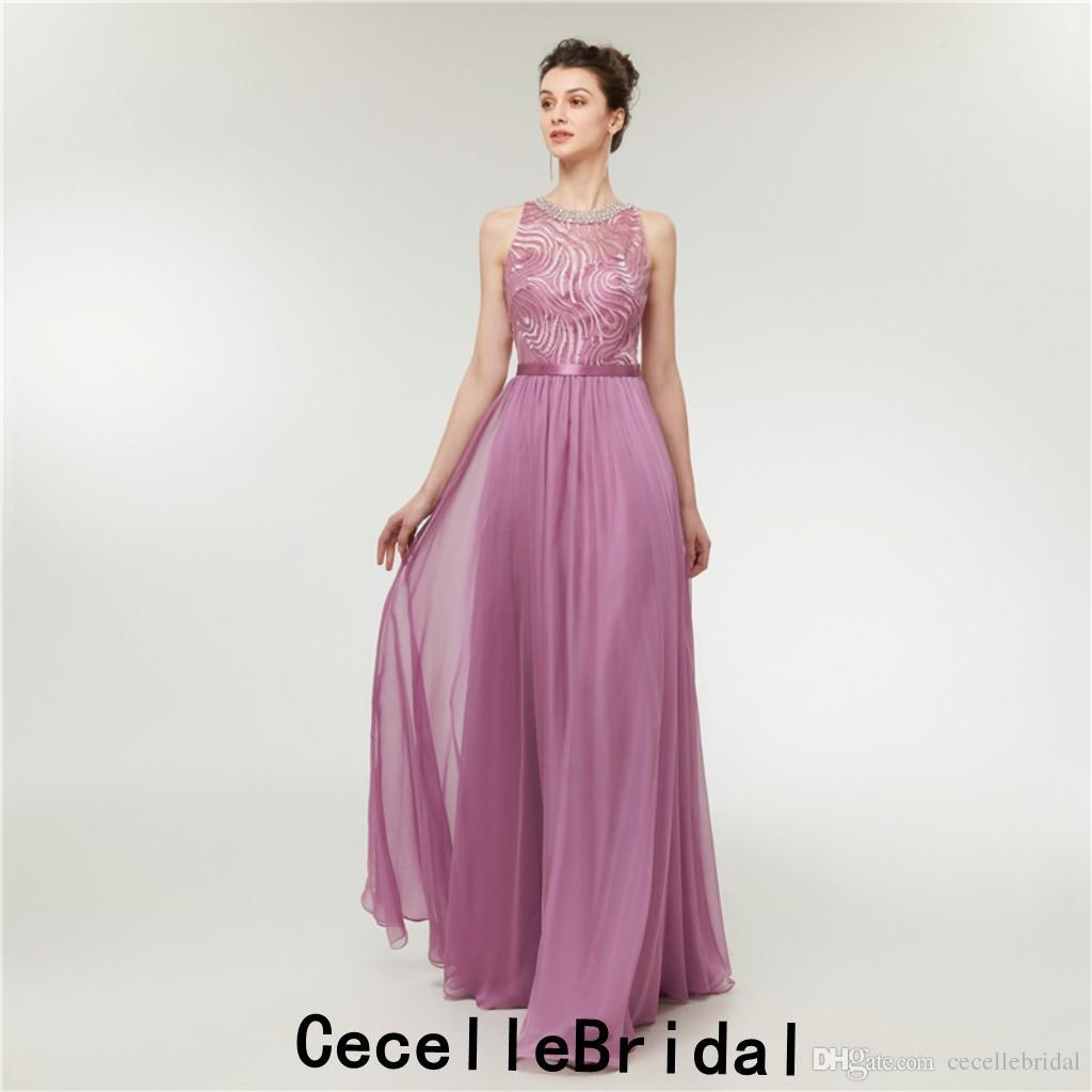 Großhandel Lila A Linie Einfache Spitze Chiffon Lange Abendkleider  Ärmellose Perlen Hals Frauen Elegante Abendgesellschaft Kleid Abendkleider