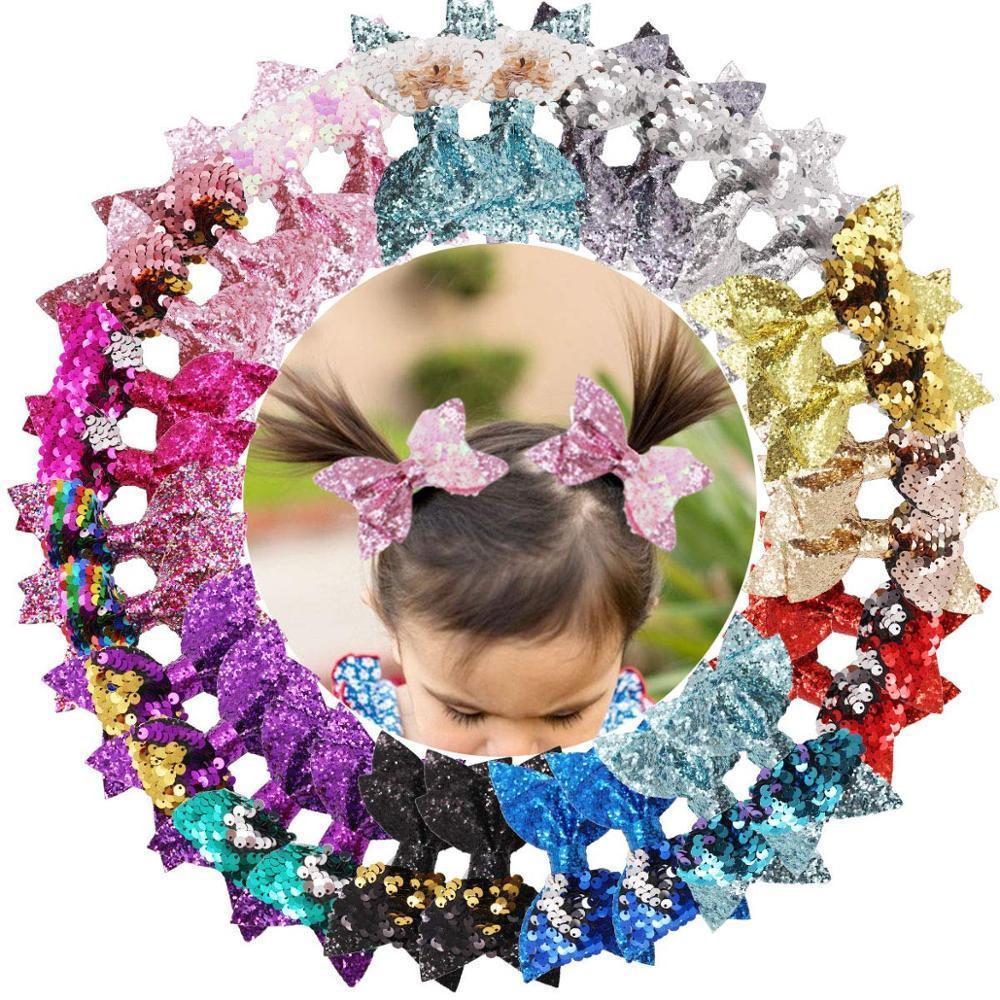 30pcs Glitter Hair Bows Clips 4 pouces Bunt Paillettes Barrettes Pinces crocodile Boutique Accessoires cheveux pour Bébés filles ados enfants CX200617