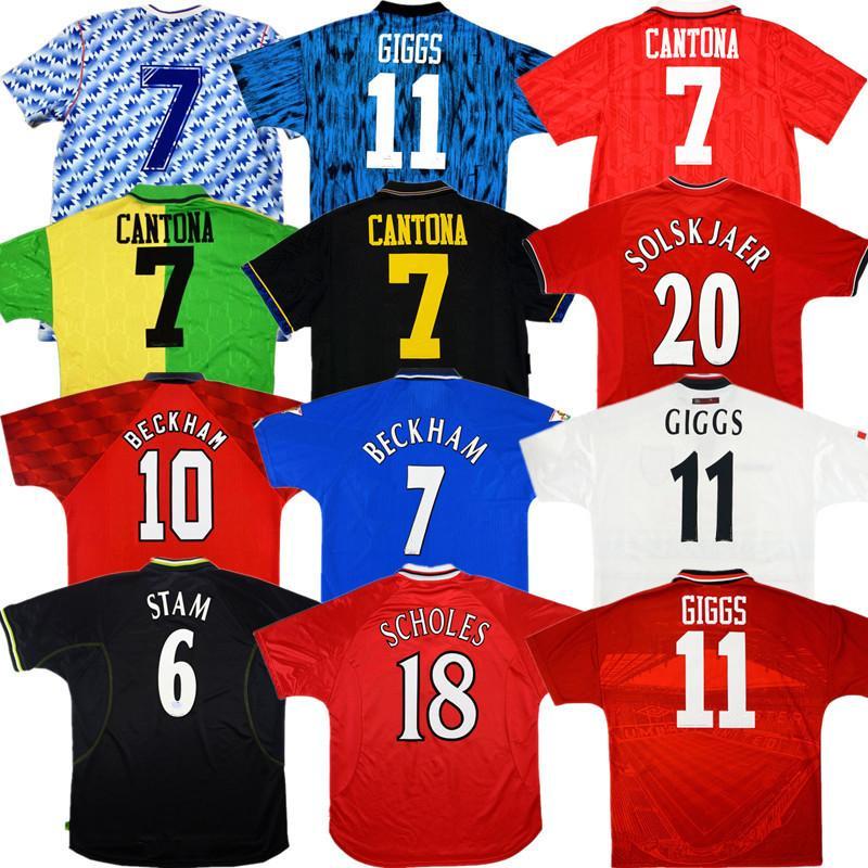 Retro Man UTD Cantona Beckham Futebol Jersey Manchester 1992 94 89 90 91 94 96 97 United Camisa de futebol antigo