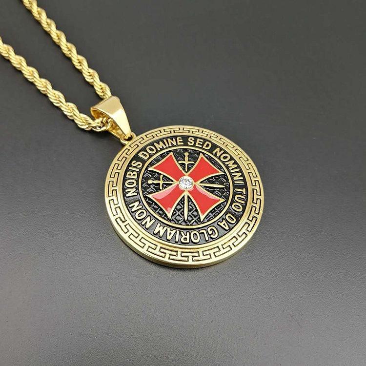 Collana uomini di alta qualità dell'acciaio inossidabile 316L Templari Croce Spada Scudo