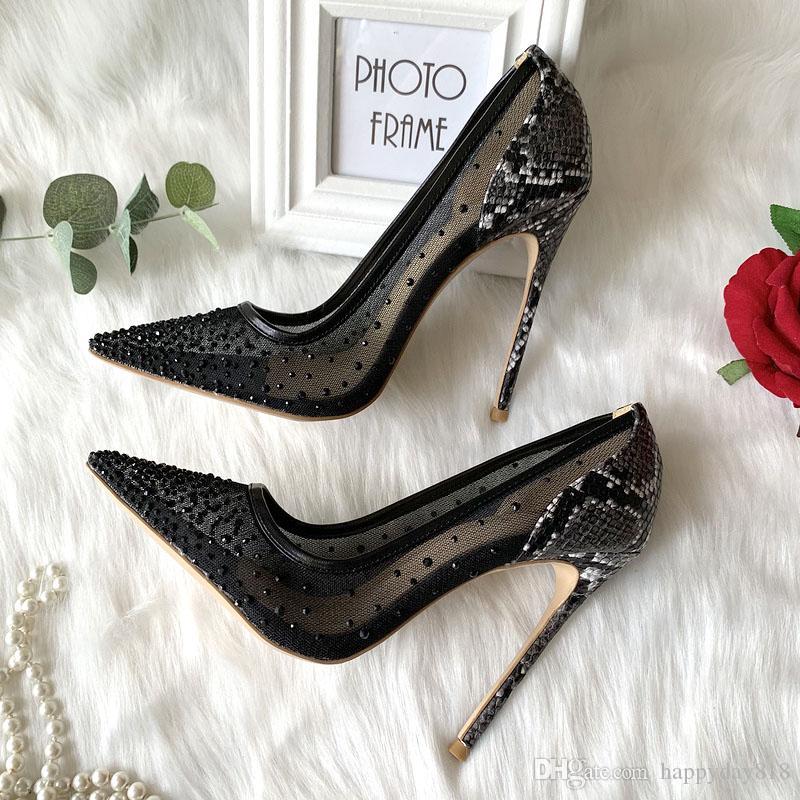 Casual Designer Sexy Dame Fashion Femmes Chaussures Noir Cristal Mesh Point Toite Haute Talons Stiletto Stripper Mariée Mariée Pompes de mariage 12cm 10cm 8cm Grande taille 44