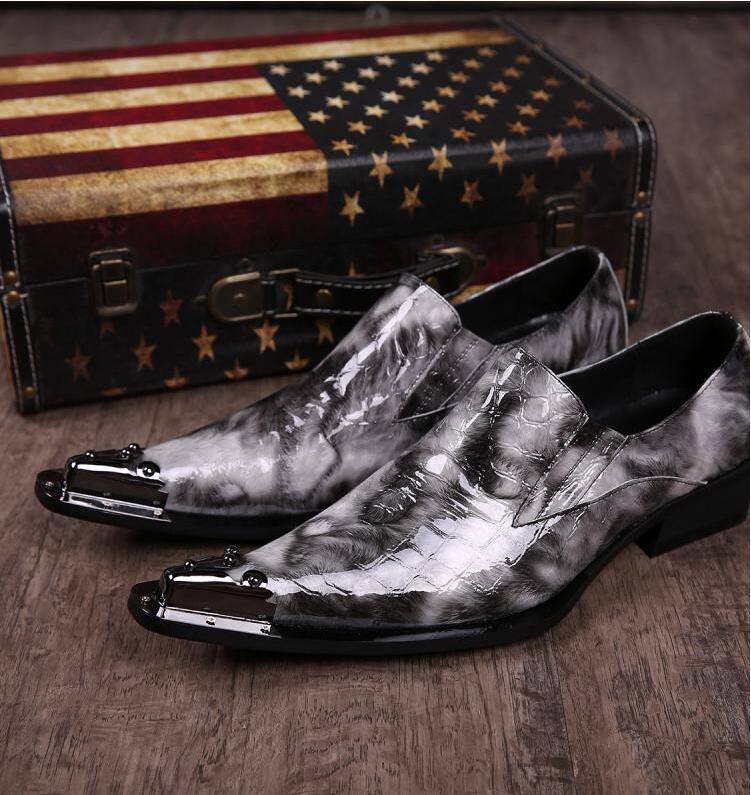 Wild Luxury Аллигатор Остроконечные Toe Человек Металл Tipped Oxfords Бизнес Кожа Высокие каблуки мужские вечерние платья Свадебная обувь Sapato Социальный Mascul