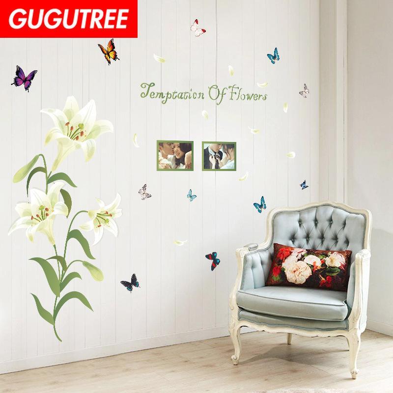 Dekorieren Home Blume Buttlefly Cartoon Kriege Kunst Wandaufkleber Dekoration Abziehbilder Wandmalerei Removable Decor Wallpaper G-2263
