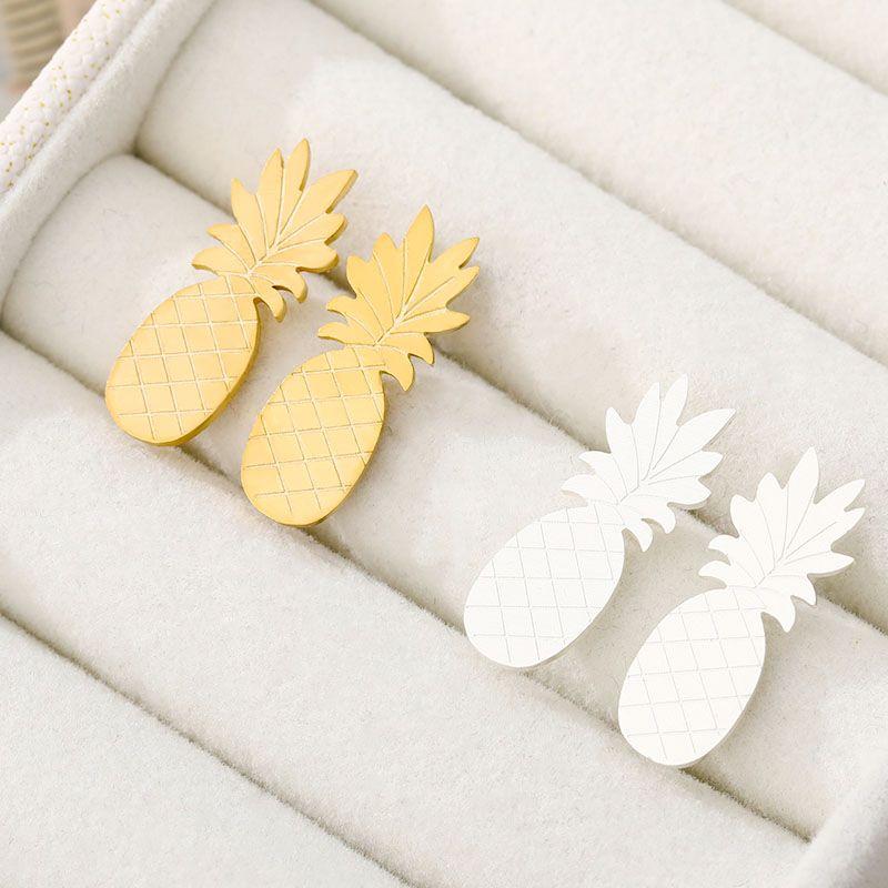 Лето ювелирных Dainty Ананас серег для женщин девушки из нержавеющей стали цвета золота тропических серьги Pendientes