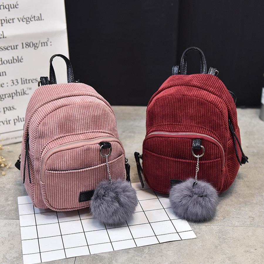 Cute Hairball Corduroy Backpack Women Mini Solid Color School Bags For Teenage Girls Small Bookbags Lady Fashion Backpack Purses