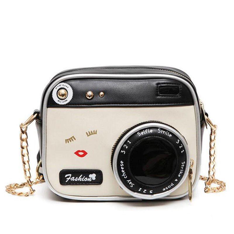 Fashion-Pu Leather Shoulder Bag Strap Bag Style Case Camera Design Cute Mini Chain Crossbody Bag Women Small Vintage Purse