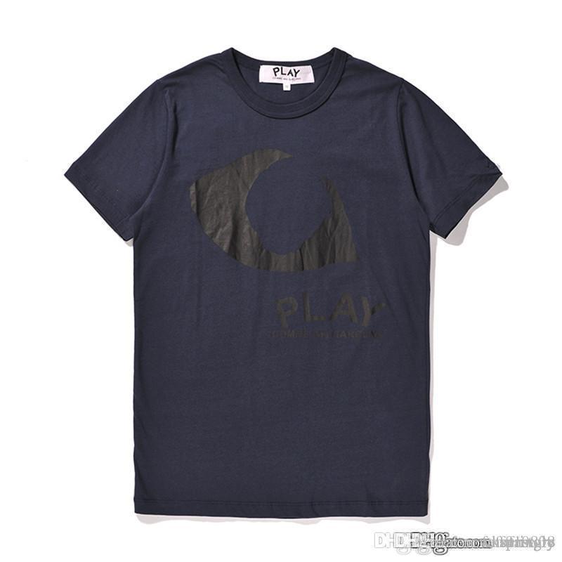COM New Meilleure Qualité Bleu des Garçons CDG jeu Half Red Heart T-shirt imprimé