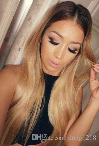 Ombre Femmes Blonde Longue Raide Synthétique Perruques Synthétiques Perruque Narutal Plein Cheveux UK