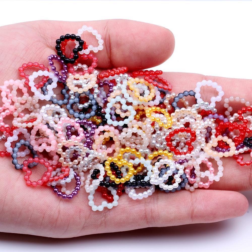 1000 unids Multicolor 11mm Perla de Imitación Hollow Forma de Corazón Media Ronda Flatback Beads Para DIY Scrapbooking Joyería de Cardmaking