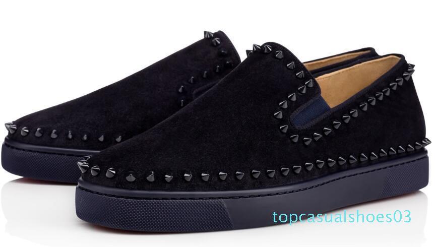 2020 clássico quente! Sapatilhas de fundo calçados casuais dos homens das mulheres negras Spikes Flats Loafers Pik Boat Couro Design Mulher de Mans t03 de sapatos