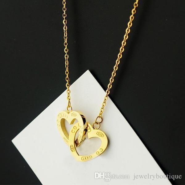 Новое прибытие 316L цепи ожерелье из нержавеющей стали с двойным сердцем подключить для женщин и ювелирных изделий подарка дня матери в 48сме бесплатно Shippin