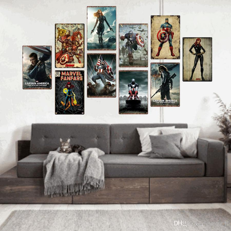 Lot Metal Tin Signs Painting Marvel Captain America Wall Stickers Art Decoration Iron Painting Plaque 20*30cm Wall Decor Art Pictures