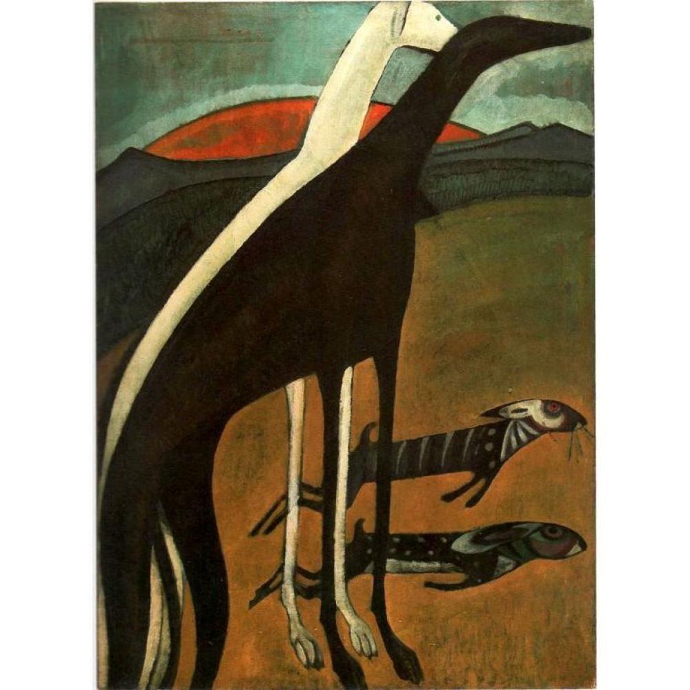 Quadri astratti di Souza Cardoso Os Galgos dipinto a mano su tela di alta qualità