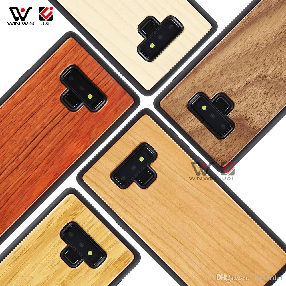 حالات الهاتف صدمات لسامسونج S7 S8 S9 S21 S20 Ultra EF الطبيعية الخشبية TPU شعار مخصص 2021 فاخر