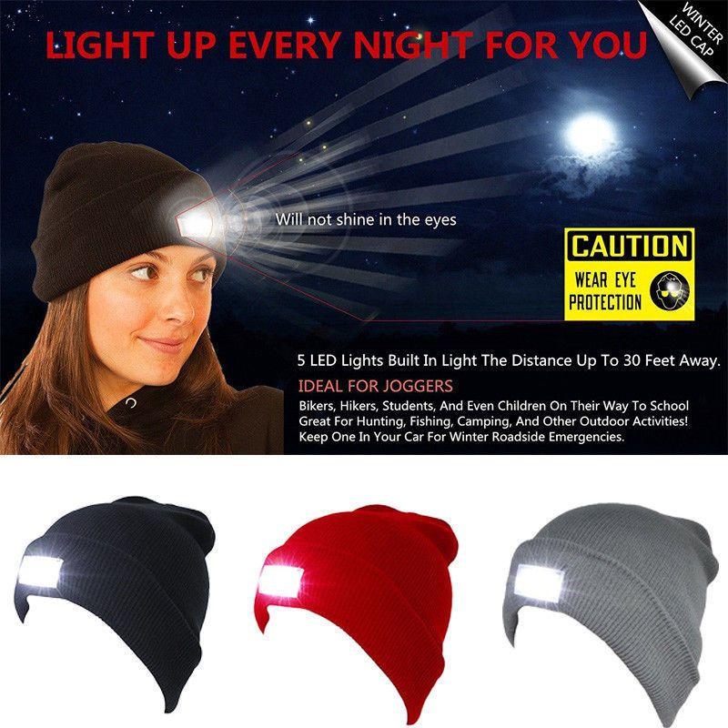 Licht Flashing Cap Wintermütze Männer Beanies Wollmütze Jungen verdicken Fashion Warm Beanie Camping Lauf
