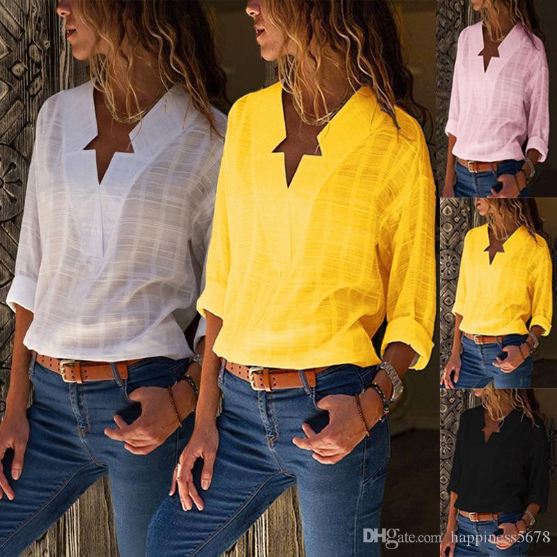a cuadros con cuello en V blusas de las mujeres nueva moda y tops de manga larga camiseta superior damas femme otoño