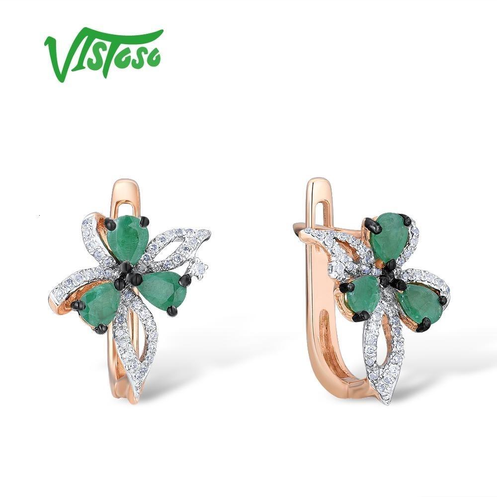 Vistoso 14K Rose Gold 585 Bowknot orecchini per le donne Glamorous Elegante Smeraldo diamante scintillante Glamorous Trendy Belle CJ191203 Jewelry