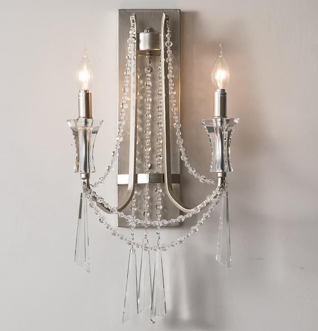prata Vintage levou vela Espelho de Luz para Villa salão de entrada do hotel de cristal Wall Light parede país retro quarto salão de Iluminação LLFA