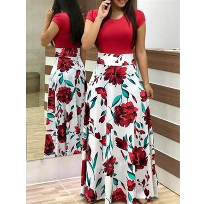 7ЦВЕТОВ Цветочные платья женщина традиционный африканский стиль Riche Базен Урожай Элегантный Maxi Африка Лоскутная Этнический Большой свинг Платье
