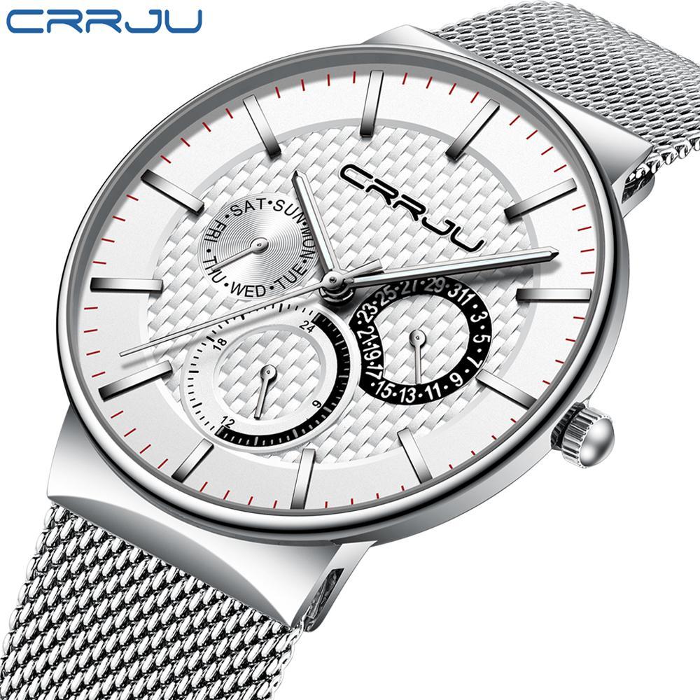 Herrenuhr CRRJU Top-Marke Luxus Wasserdicht Ultra Thin Datum Uhr Male Stahlbügel beiläufige Quarz-Uhr-weiße Sport-Armbanduhr