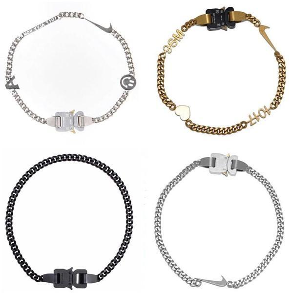 اكسسوارات 1017 ALYX STUDIO LOGO سلسلة معدنية النساء المجوهرات سلسلة قلادة الرجال النساء سوار أزياء الهيب هوب شارع في الهواء الطلق مهرجان هدية