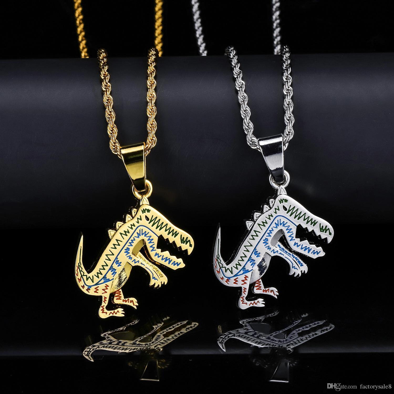 Cartoon cartoon popular logo hip hop dinosaurio collar hombres y mujeres hip hop colgante accesorios de moda
