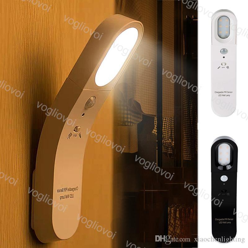 El sensor de movimiento Luz de la noche las luces 6LED 5V recargable 6500K 3200K PC Para Baño Pasillo Armario Dormitorio Sala EUB