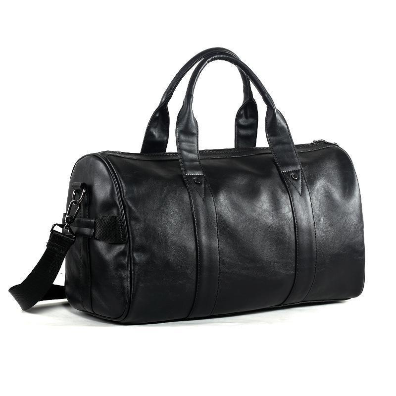 Populaire design en cuir PU Sac Weekend Duffel Portable Highcapacity Sac Voyage d'affaires de loisirs sac à main noir hommes