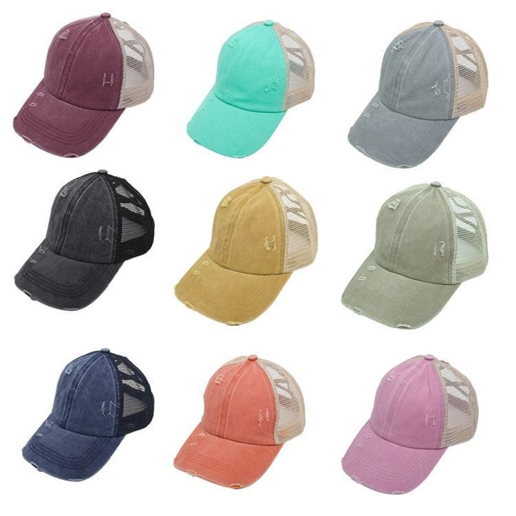 Accessori per la moda Lavato Hip Coda di cavallo cappello di partito Cappelli Donne Coda di cavallo Berretto da baseball Sport Hop Snapback Mesh Parte cappuccio 10styles T2C5242