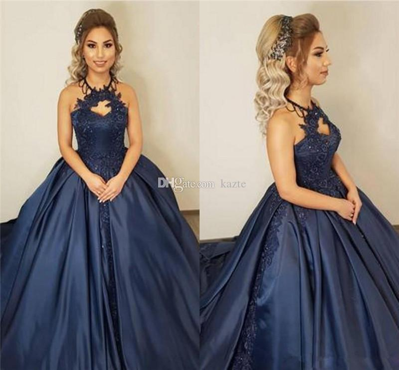 Princess Ball Gown Long Prom Dresses 2019 Sexy Halter Navy Blue Plus Size Cheap Satin Arabic African Girl Pageant Formal Evening Party Gowns