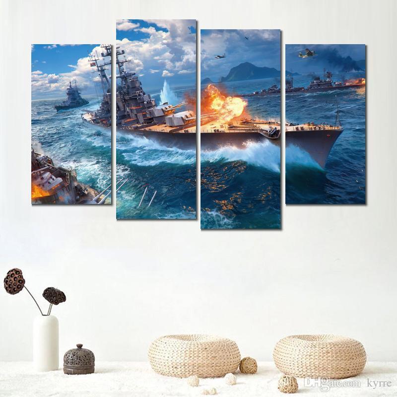 Affiche impression peinture monde des navires de guerre jeu 4 jeux d'images murales pour décor hall d'entrée
