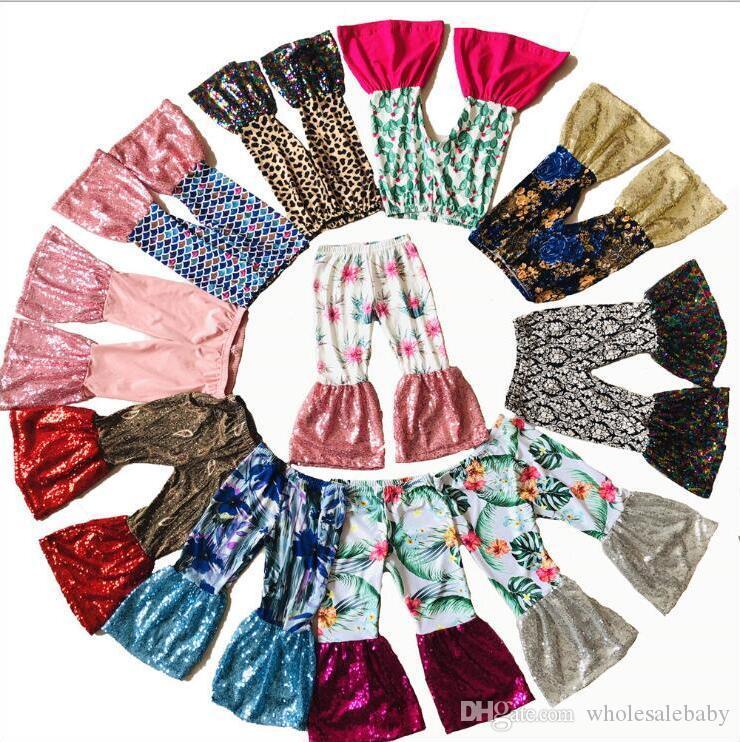 Kids Pants Mermaid Bell Bottom Pants Floral Sequins Wide Leg Pants Boutique Casual Tights Fashion Dance Trousers Princess Leggings C5901