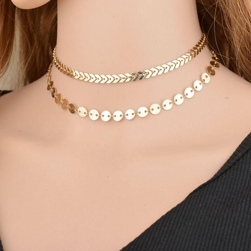 Листья ретро богемский металла Мода двухслойных Fish Bone Chain Медь Короткие ожерелье ювелирные изделия для женщин N1102