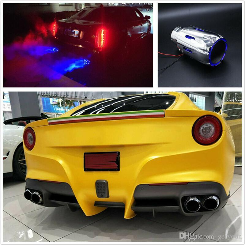 modificación del coche universal 1 x Acero / fibra de carbono de 2,5 '' azul / rojo LED Puerto del coche del silenciador de escape Colocar todos los coches