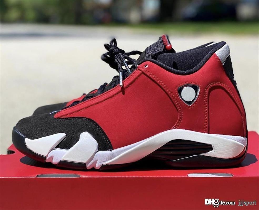 2020 Yeni Sürüm Otantik Hava 14 Gym Kırmızı Siyah Beyaz Retro Adam Basketbol Ayakkabı 487471-006 Süet Spor Sneakers ile Orijinal Kutusu
