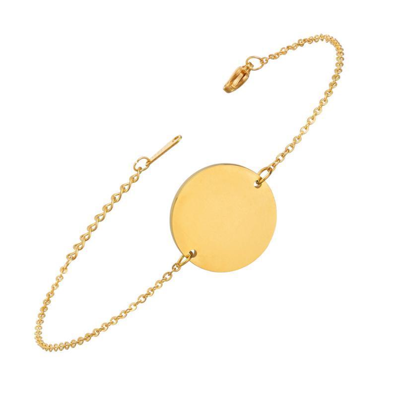 N7M7 Geometrische Runde Armband Armreifen Mode Gold Farbe Edelstahl Charm Armbänder Für Frauen Schmuck Braclets 2019