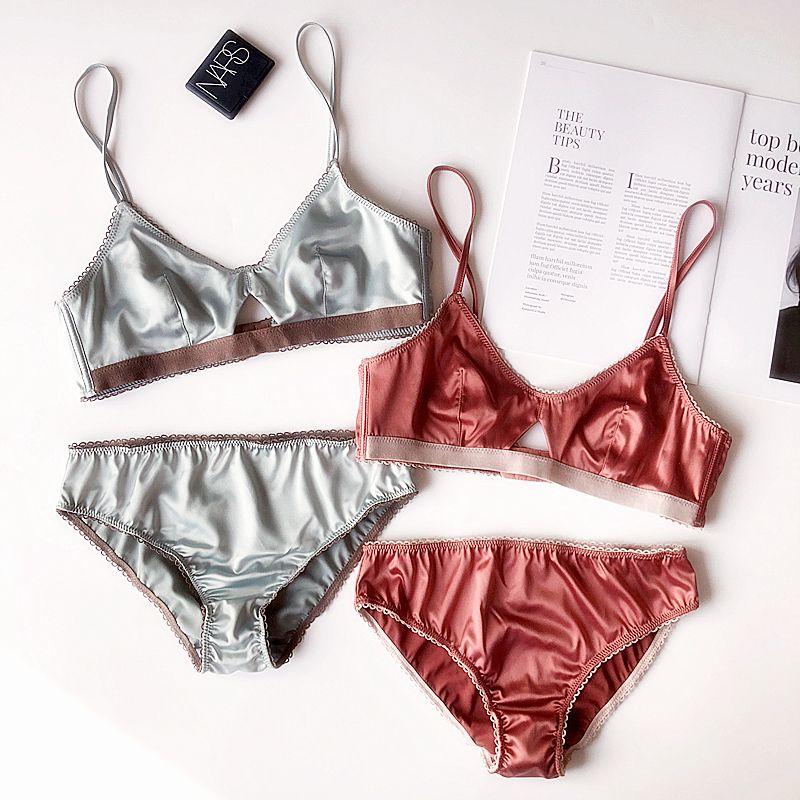 Girl Wireless Thin Cup Satin Triangle Cup Bra Panties Brassiere Underwear Set