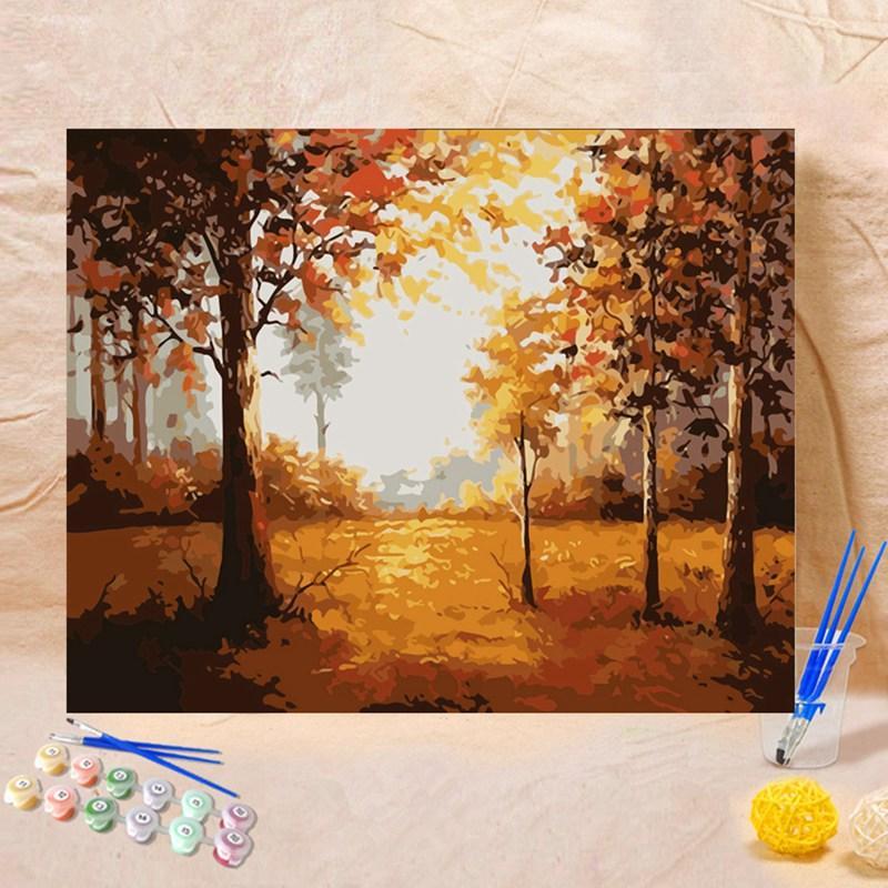 40 * 50 cm fai da te pittura a olio disegno immagini di numeri foresta paesaggio autunnale appeso a parete dipinti di numeri su tela decor