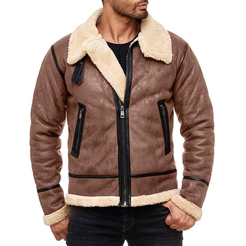 NEW Moda Masculina Inverno tops de manga longa Fur Belt Faux Casaco de couro Highneck Shearling casaco de lã Men Forro Bomber Jacket