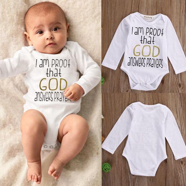 US Funny Infant Baby Boy Girl Romper Bodysuit Jumpsuit Outfits Sunsuit Clothes