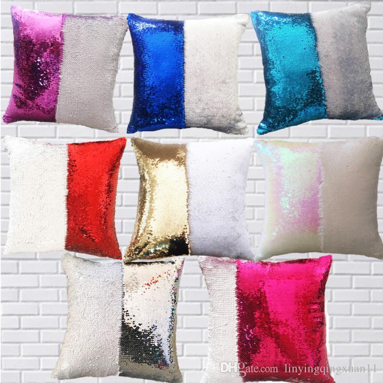 FAI DA TE Sirena Paillettes Cuscino Magico Tiro Federa 40X40 cm Cambiare Colore Reversibile Pillow Case Per La Decorazione Domestica