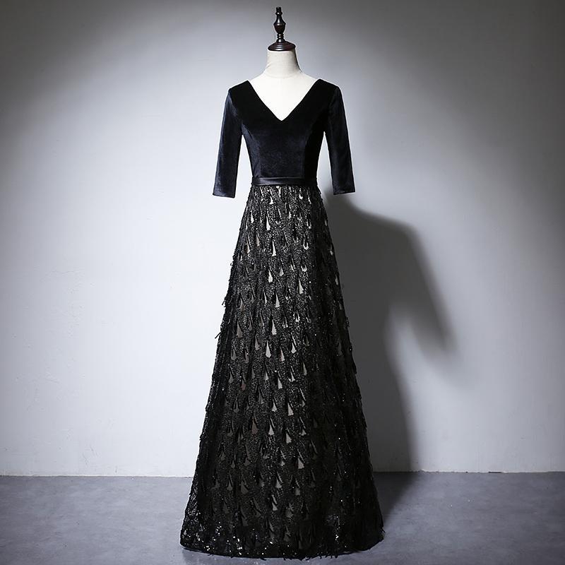 LOVSKYLINE 2020 mujeres de la borla vestidos de noche Negro medias mangas cuello en V contraste del vestido del partido del color vestidos de fiesta vestido formal